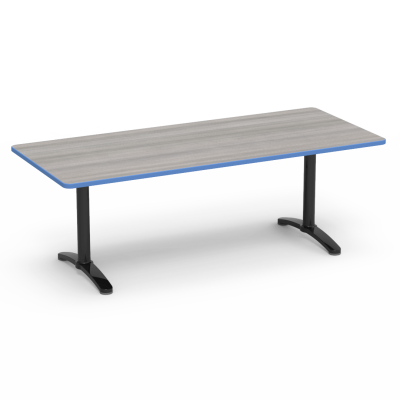 lunada Series Seminar Table with a rectangular top and a steel frame with bi-point feet.