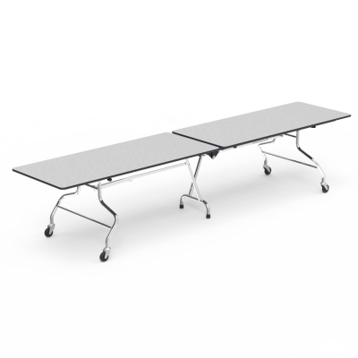 MT Series Mobile Table with Folding Rectangle Top and Steel Legs with Casters