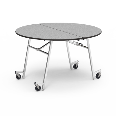 MT Series Mobile Table with Round Top and a steel frame with 4 casters.