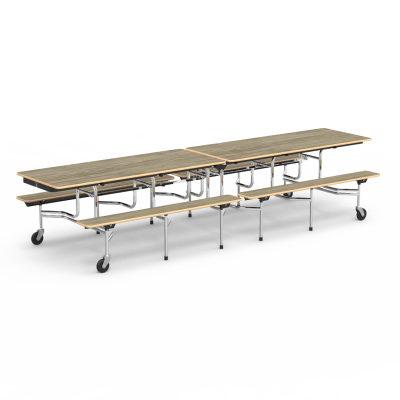 MTB Mobile Rectangle Bench Tables with a steel frame and 4 casters.