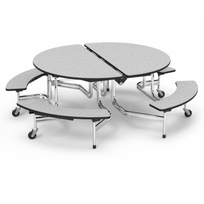 MT Mobile Bench Table with an oval top, seats 8-12 and a steel frame with 4 casters.