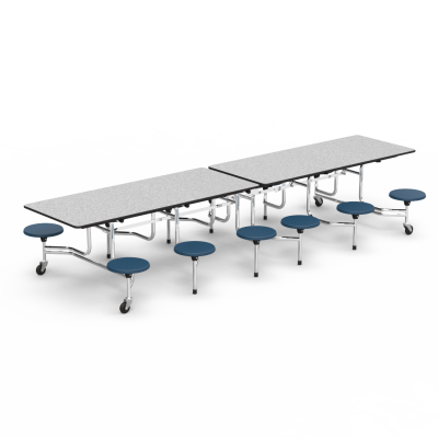 MTS Series Mobile Stool Table with Rectangle Folding Top and 12 Stools