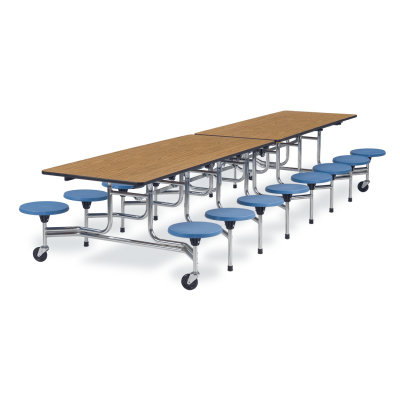 MTS Series Mobile Table with Folding Rectangle Top and 16 Stools