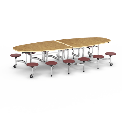 MTSE Mobile Table with Eclipse shaped top,12 Stools and  4 casters.