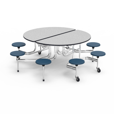 MTS Series Mobile Table with Folding Oval Top and 8 Stools