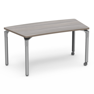 Plateau Series Table with a Crescent Top and four steel legs with casters.