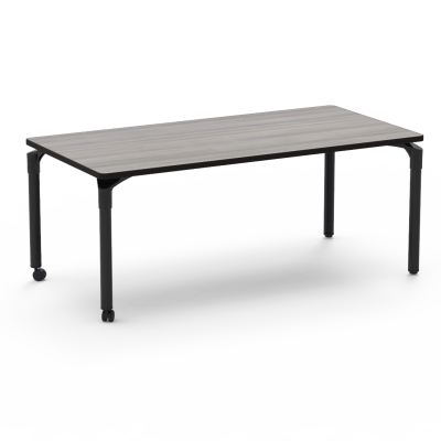 Plateau Series Table a Rectangle top and four steel legs with two casters.