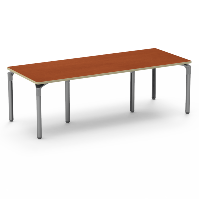 Plateau Series Table with a Rectangle top and six steel legs.