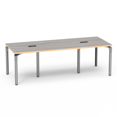 Plateau Series Table with a Rectangle top With Two Grommets, and six steel legs.