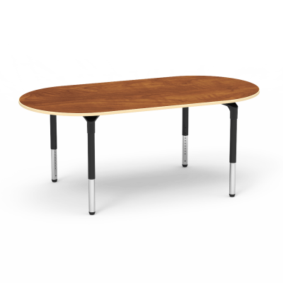 Plateau Series Table with a Racetrack top and four steel legs.