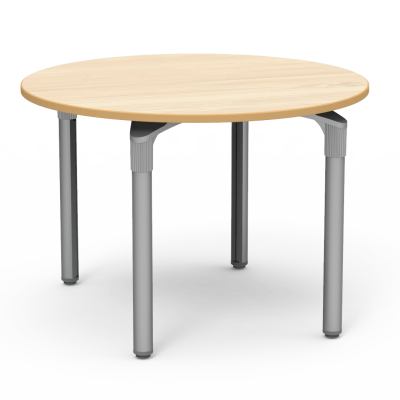 Plateau Series Table with a Round top and four steel legs.