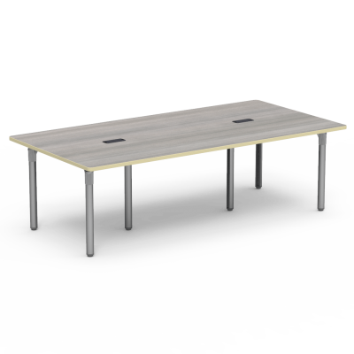 Plateau Series Library Table With Two Grommets, a rectangle top, and six steel legs.