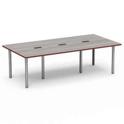 Plateau Series Library Table With Three Grommets, a rectangle top, and six steel legs.