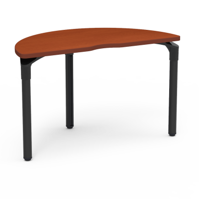 Plateau Series Table with a Half Moon top and three steel legs.