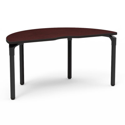 Plateau Series Table with a Half Moon top and four steel legs.