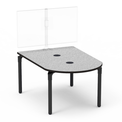 Plateau Series Media Table with a Peninsula top and four steel legs.