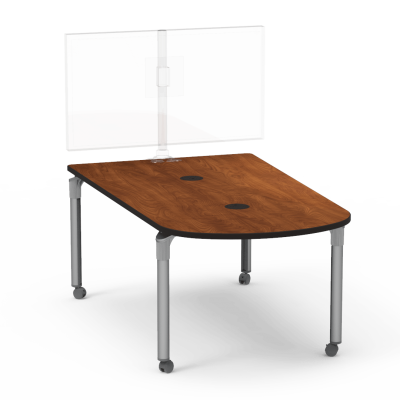 Plateau Series Media Table with a Peninsula top and four steel legs with casters.