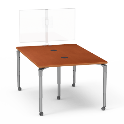 Plateau Series Media Table with a  Rectangle top and five steel legs.