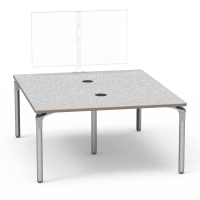 Plateau Series Media Table with  Rectangle top and five steel legs.