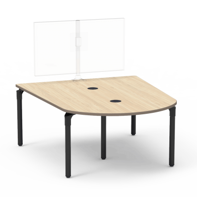 Plateau Series Media Table with a Peninsula top and five steel legs.