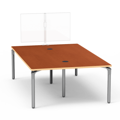 Plateau Series Media Table with a Rectangle and six steel legs.