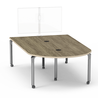 Plateau Series Media Table with a Peninsula top and six steel legs with casters.