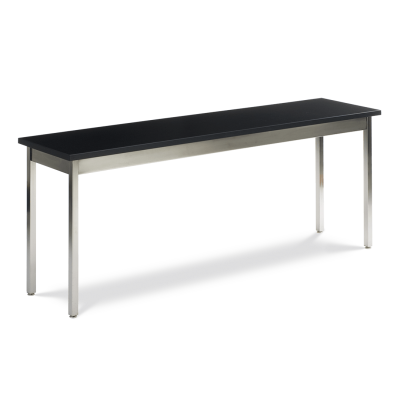 Science Table with Rectangle Epoxy Resin Top and Chrome Plated Steel Apron and Chrome Plated Steel Legs