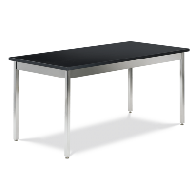 Science Table with Rectangle Chemsurf Top and Chrome Plated Steel Apron and Chrome Plated Steel Legs