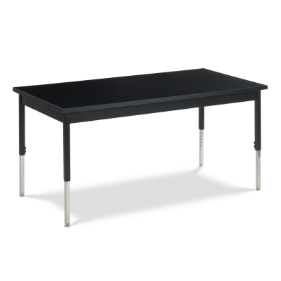 Science Table with Rectangle Chemsurf Top and Steel Apron and Steel Adjustable Legs on Casters