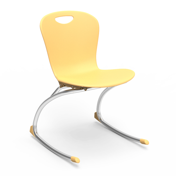 ZUMA Rocking Chair with soft plastic seat bucket and cantilevered steel frame.